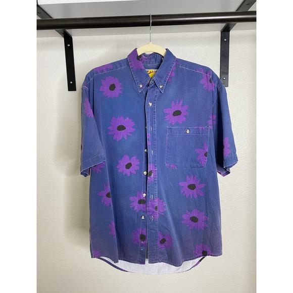 Men's Vintage purple flower print button up | S